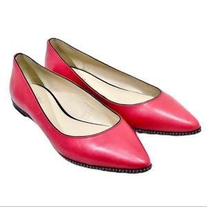 Coach Red Leather Beaded Point Toe Flats 9.5 B